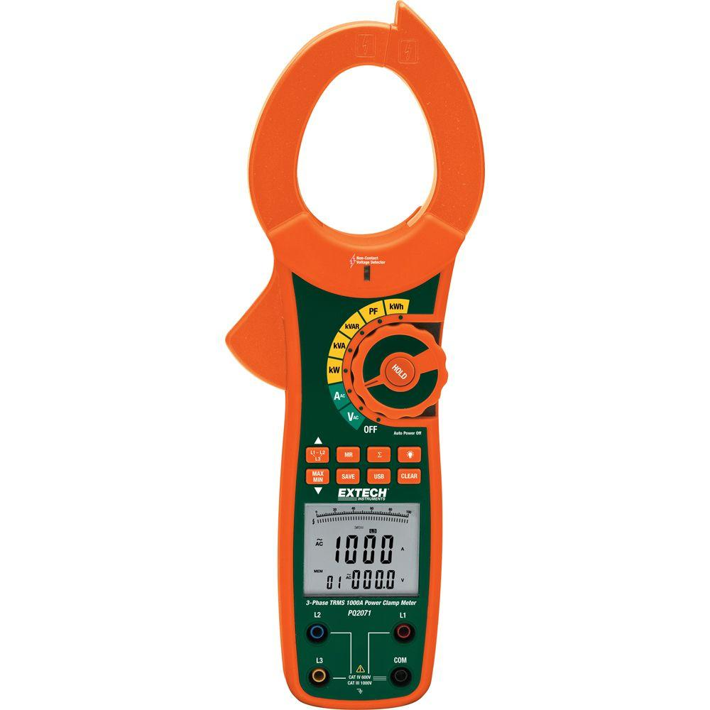 1-/3-Phase 1000-Amp True RMS AC Power Clamp Meter